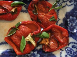 Roasted red peppers with basil 004