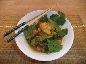 thai yellow salmon curry