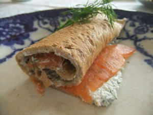 Buckwheat pancake with dill ricotta and smoked salmon