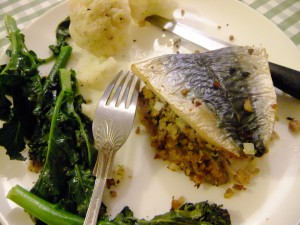 Easy stuffed mackerel fillets