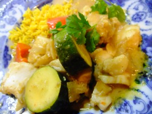 Green curry made here with cod instead of chicken