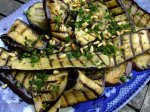 Aubergine antipasto with pine nuts and herbs