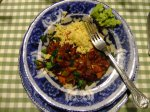 Chilli bean with fluffy millet and one-minute guacamole